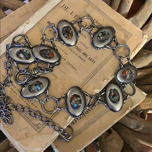 Chico's silver stone concho belt